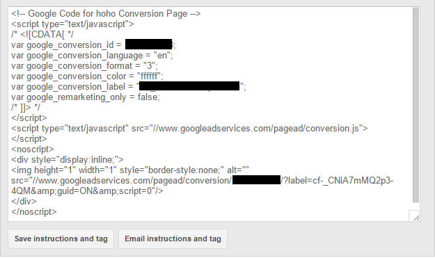 Install Google AdWords Conversion Tracking code example