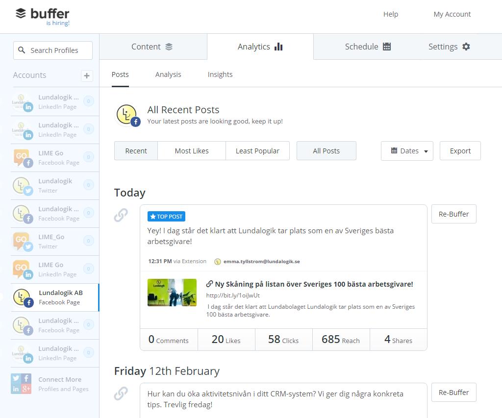 Buffer analytics