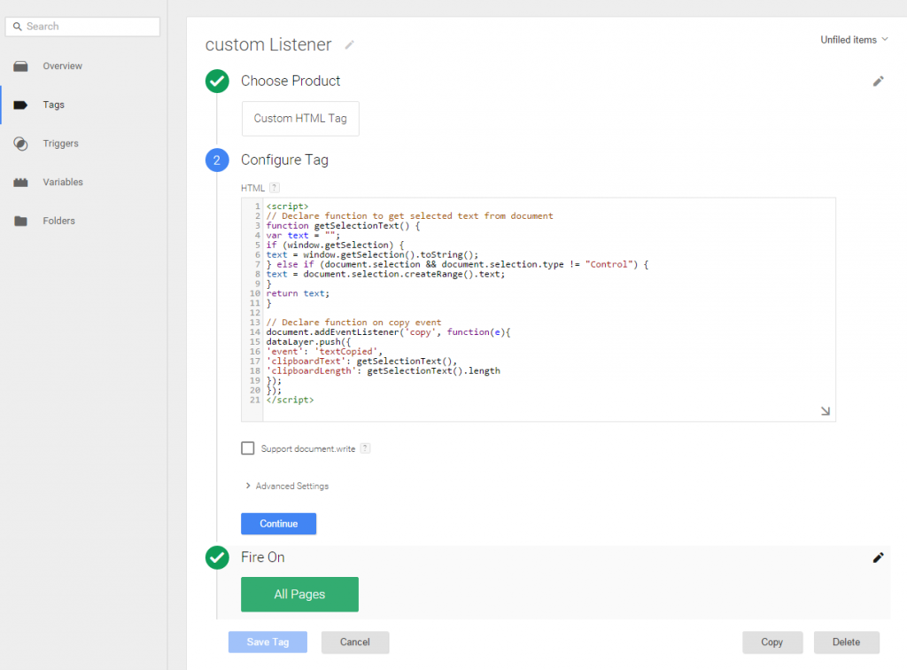 Copy text tag manager custom listener