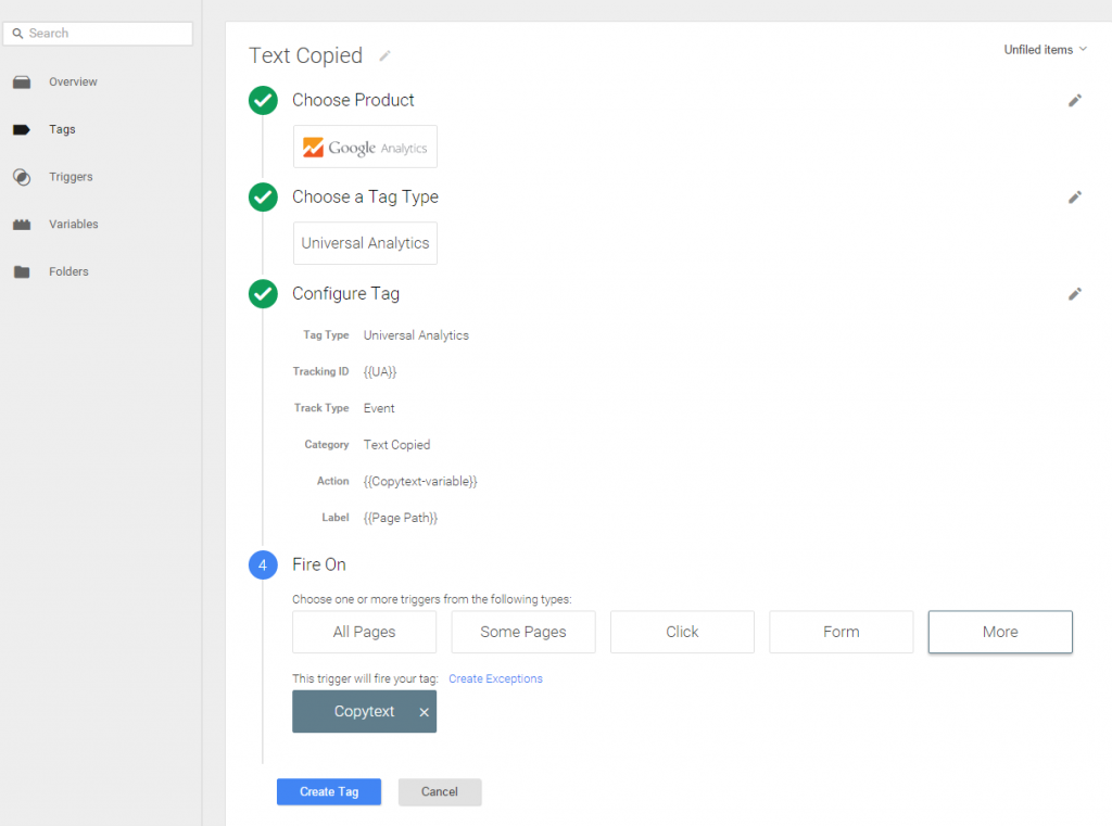 Copy text tag manager tag