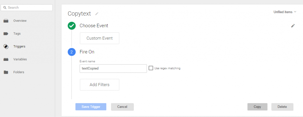 Copy text tag manager trigger