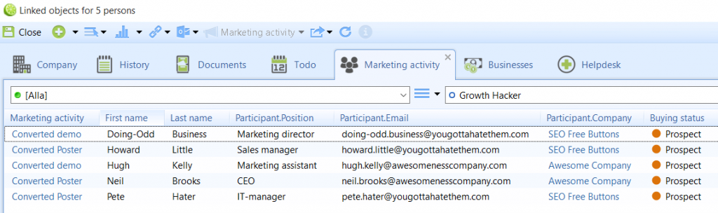 CRM system for marketers