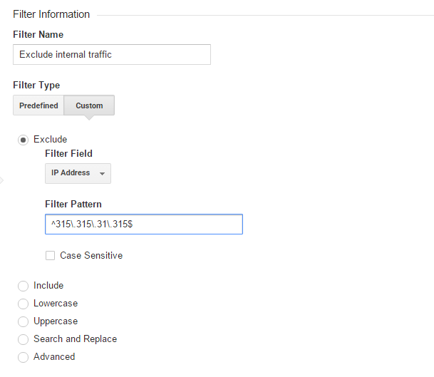 Exclude internal traffic in Google Analytics