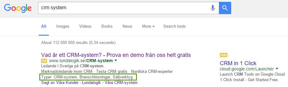 Ad extensions AdWords snippets