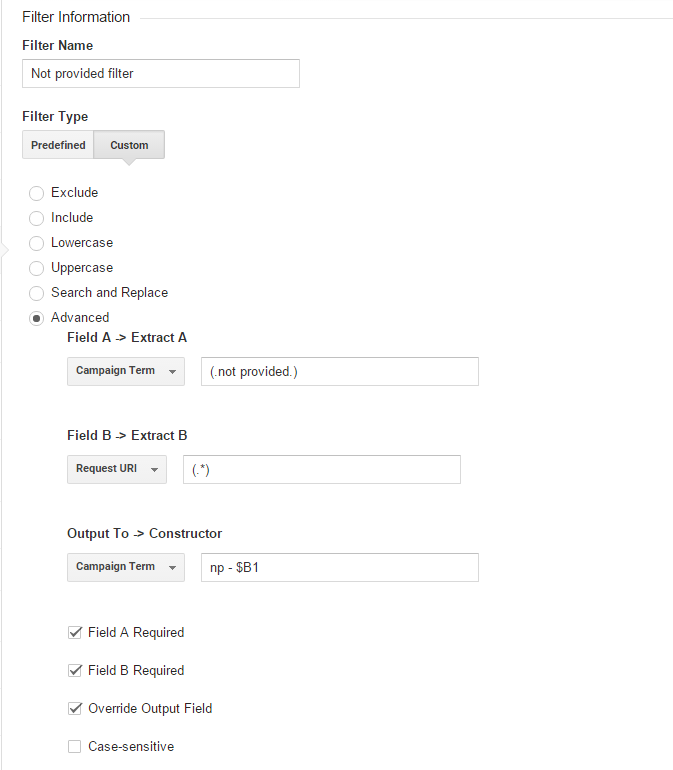 Not provided filter in Google Analytics