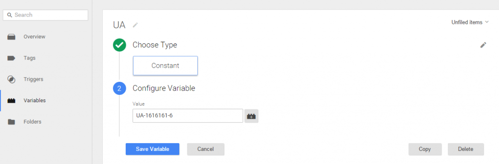 tag manager ua variable