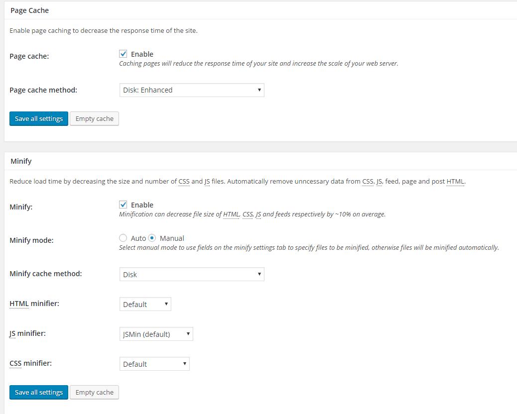 w3 total cache settings general settings