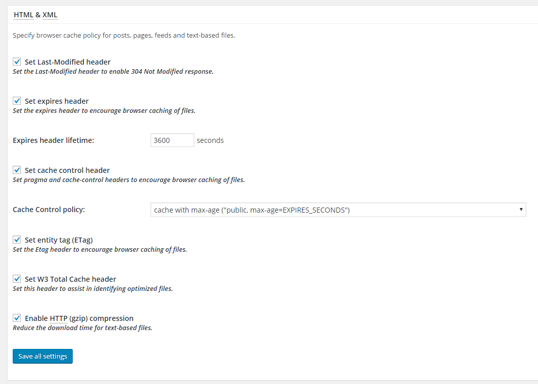 w3 total cache settings html xml