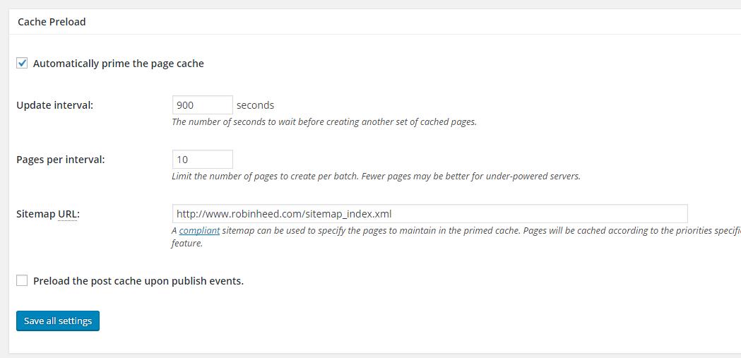 w3 total cache settings cache preload