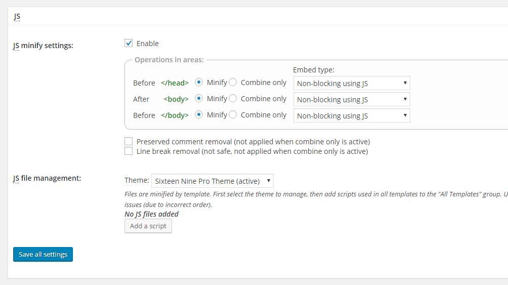 w3 total cache settings JS