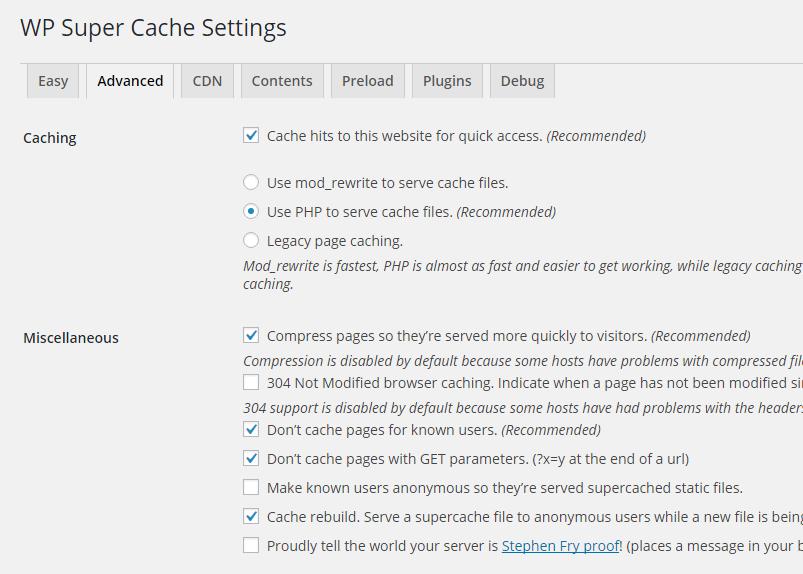 WP Super Cache settings advanced